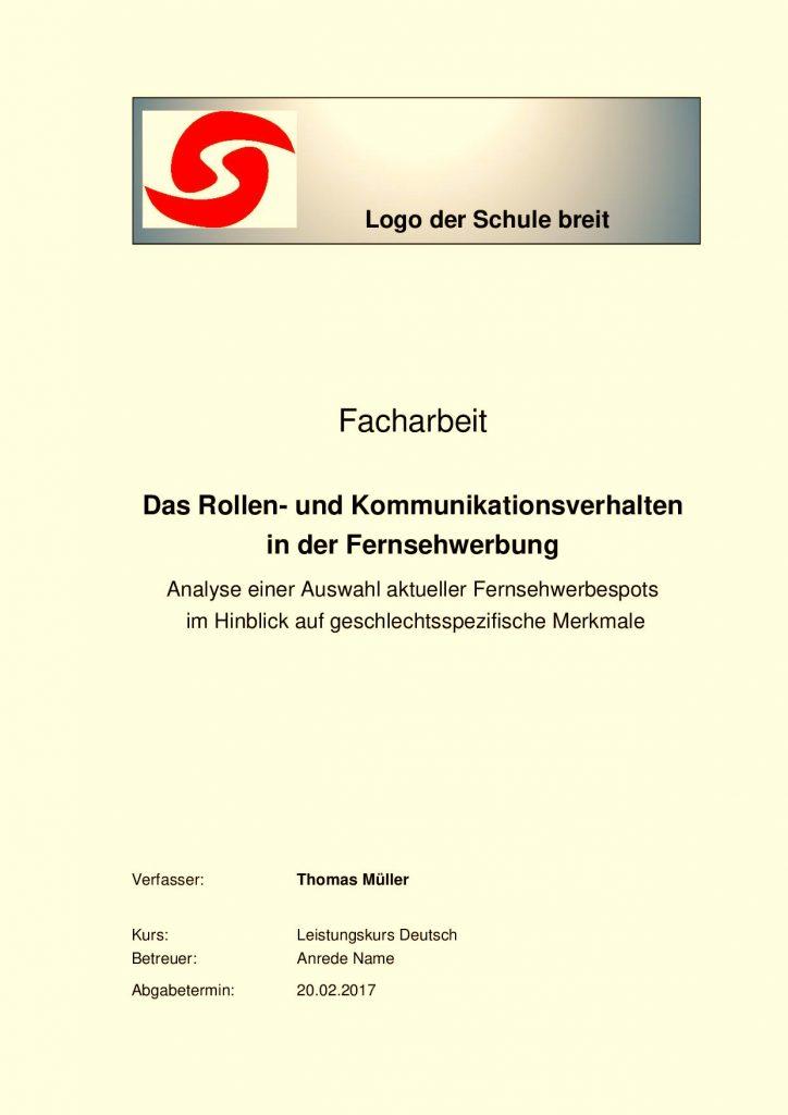 Facharbeit Deckblatt : Mustervorlagen zum Herunterladen